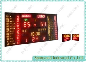 Basketball Gymnasium Digital Scoreboard and Shot Timer